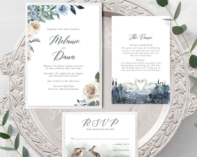 Swan Lake (Style 13863) - Wedding Invitation + RSVP + Insert