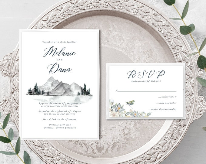 Water's Edge (Style 13917) - Wedding Invitation + RSVP