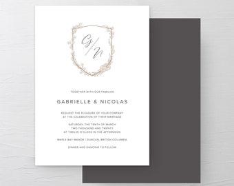 Monogram Crest (Style 13970) - Wedding Invitations