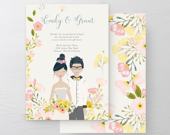 Country Fun/Couple Illustrations (Style 13927) - Wedding Invitations