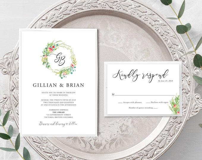 Country Charm (Style 13798) - Wedding Invitation + RSVP
