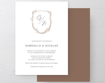 Monogram Crest (Style 13970) - Wedding Invitations