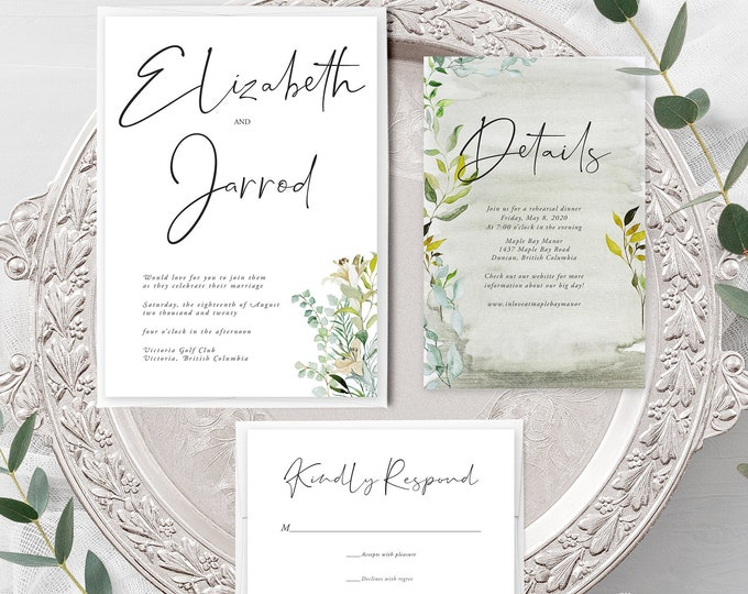 Simple Greenery (Style 13951) - Wedding Invitation + RSVP + Insert