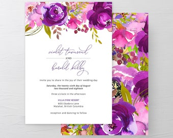 Wedding Invitation Suite/Design & Printing - Purple Passion (Style 13785)