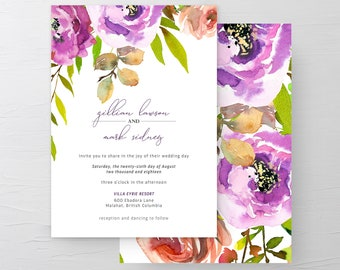 Wedding Invitation Suite/Design & Printing - Peony Love (Style 13764)