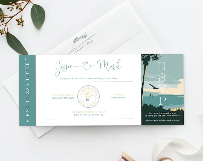Wanderlust - Destination Paradise (Style 13914) - Ticket Invitations