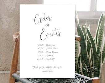 Order of Events/Design & Printing or Printable File - Simple and Modern/Calligraphy (Style 13953)
