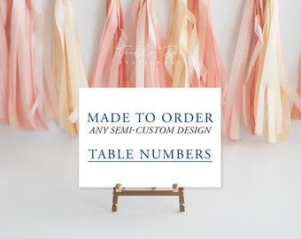 Table Numbers or Seating Cards, Printed - Any Shop Design
