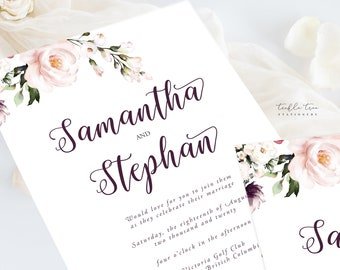 Wedding Invitation Suite/Design & Printing - Blush and Bloom (Style 13952)