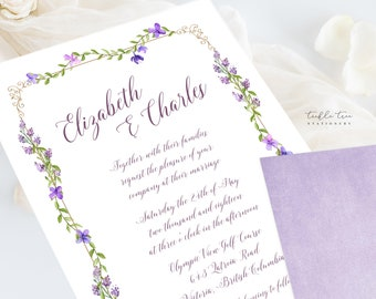 Wedding Invitations (DEPOSIT) - Purple Garden (Style 13669)
