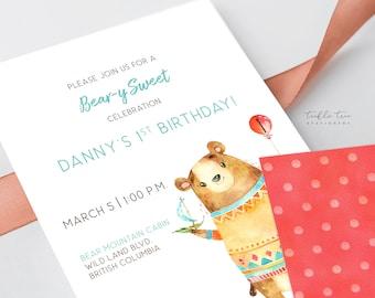 Printed Birthday Invitations - Bear-y Sweet Celebration (Style 13922)