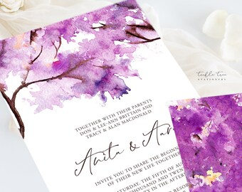 Wedding Invitations (DEPOSIT) - Purple Autumn (Style 13706)
