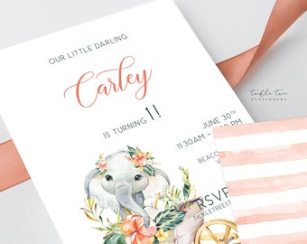 Printed Birthday Invitations - Elephant Safari (Style 13949)