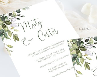 Wedding Invitation Suite/Design & Printing - Botanical Bay (Style 13915)
