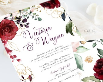 Wedding Invitations (DEPOSIT) - Artful Garden (Style 13858)