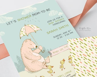Printed Baby Shower Invitations - Let's Shower Mom to Be/Bear Theme (Style 13925)