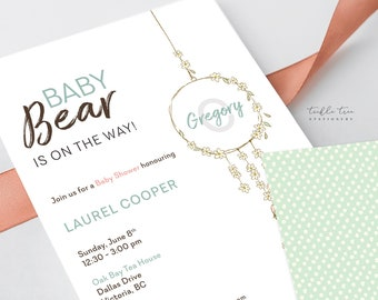 Printed Baby Shower Invitations - Baby Bear is on His Way (Style 13919)