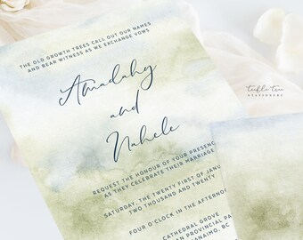 Wedding Invitation Suite/Design & Printing - Morning Forest (Style 13774)