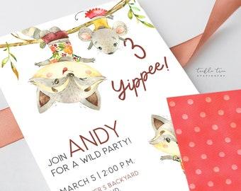 Birthday Party Invitation DEPOSIT - Wild Adventurer Racoon (Style 13921)