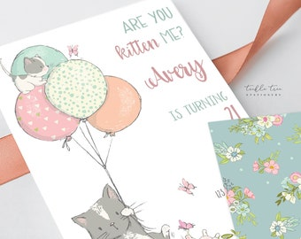 Printed Birthday Invitations - Are You Kitten Me (Style 13810)
