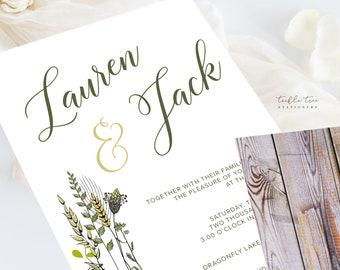 Wedding Invitations (DEPOSIT) - Wild Meadow (Style 13210)