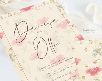Wedding Invitations (DEPOSIT) - Vintage Flower (Style 13413)