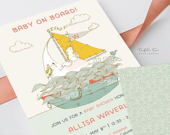 Printed Baby Shower Invitations - Baby on Board (Style 13926)