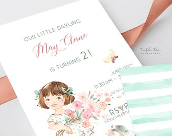 Printed Birthday Invitations - Little Miss Spring Garden (Style 13947)