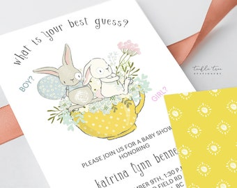Printed Baby Shower Invitations - Bunny Reveal (Style 13642)
