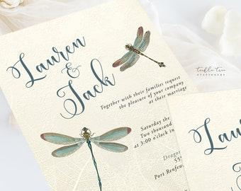 Wedding Invitation Suite/Design & Printing - Vintage Dragonfly (Style 13174)