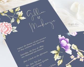 Wedding Invitation Suite/Design & Printing - Chinoiserie Motif (Style 13860)