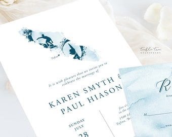 Wedding Invitation Suite/Design & Printing - Island Surf (Style 13941)