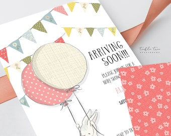 Printed Baby Shower Invitations - Arriving Soon Bunny (Style 13643)