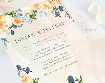 Wedding Invitation Suite/Design & Printing - Thistle and Bloom (Style 13796)