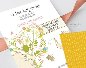 Printed Baby Shower Invitations - We Love Baby to Bee (Style 13707)