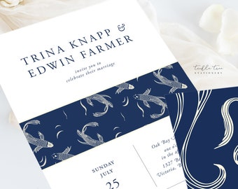 Wedding Invitation Suite/Design & Printing - Koi Pond (Style 13986)