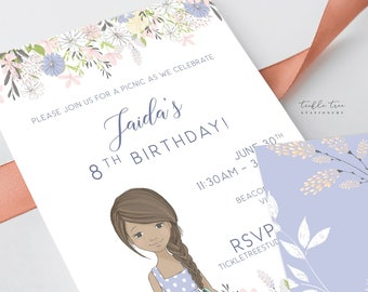Printed Birthday Invitations - Lilac Garden (Style 13944)