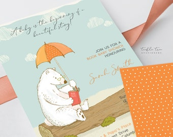Printed Baby Shower Invitations - Bear Tales/Book Theme (Style 13924)