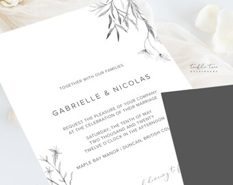 Wedding Invitations (DEPOSIT) - Wild Garden/Pencil Drawings (Style 13980)