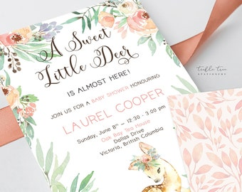 Printed Baby Shower Invitations - A Sweet Little Deer is Almost Here (Style 13918)