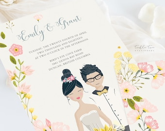 Wedding Invitation Suite/Design & Printing - Country Fun/Couple Illustrations (Style 13927)