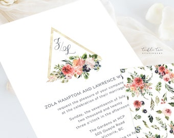 Wedding Invitation Suite/Design & Printing - Geometric and Florals (Style 13984)