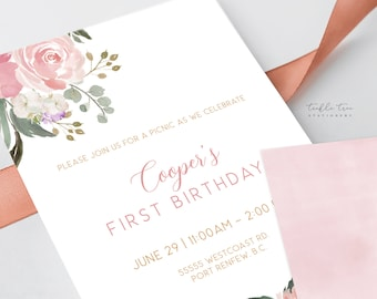 Printed Birthday Invitations - Pretty in Pink Garden (Style 13942)