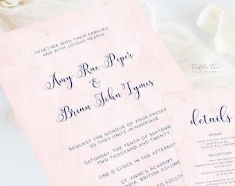 Wedding Invitations (DEPOSIT) - Barely Blush (Style 13966)