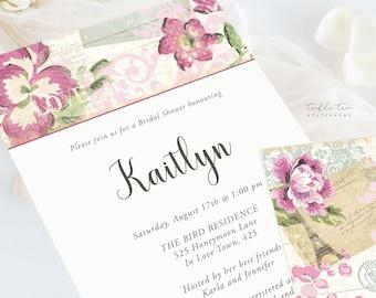 Wedding Invitations (DEPOSIT) - Vintage Rose (Style 13345)