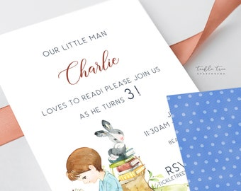 Printed Birthday Invitations - He Loves to Read (Style 13948)