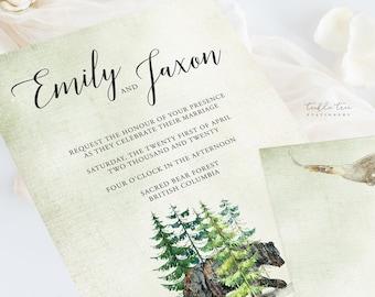 Wedding Invitation Suite/Design & Printing - Rustic Woods (Style 13768)