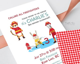 Birthday Party Invitation DEPOSIT - Calling on all Young Firefighters (Style 13530)