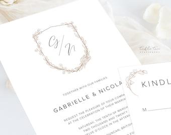Wedding Invitations (DEPOSIT) - Monogram Crest (Style 13970)