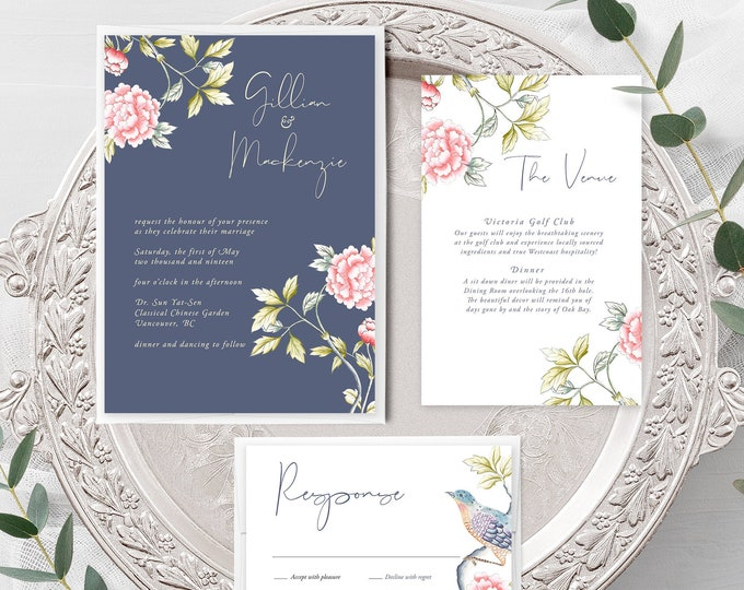 Chinoiserie Motif (Style 13860) - Wedding Invitation + RSVP + Insert
